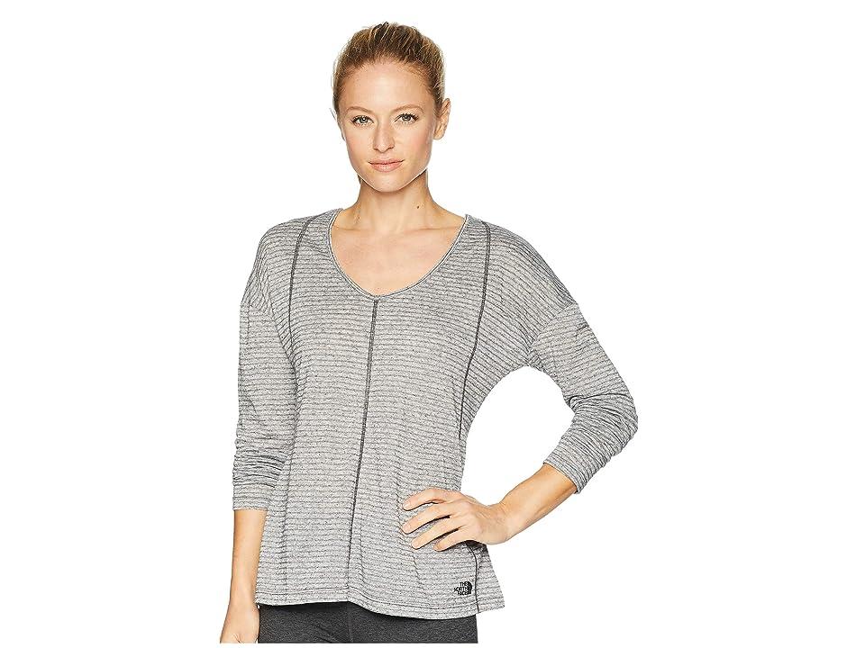 The North Face Beyond the Wall Natural Fiber Long Sleeve Shirt (Asphalt Grey Stripe) Women