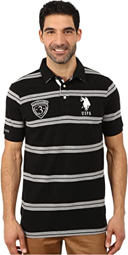 Black Mallet Striped Pique Polo