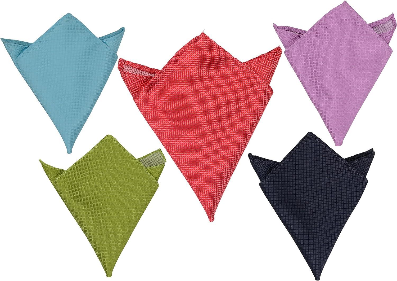SYAYA 5pcs Men's Solid Color Pocket Squares Handkerchief Hanky HSP01 (3 colors)