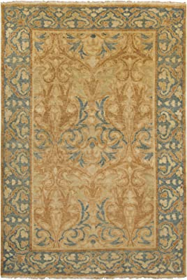 Surya Hand Knotted Casual Accent Rug, 2 by 3-Feet, Moss/Rust/Olive/Gold