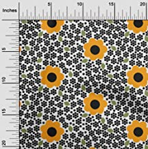 oneOone Velvet Yellow Fabric Floral & Geometric Sewing Craft Projects Fabric Prints by Yard 58 Inch Wide