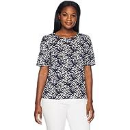Lark & Ro Women's Short Sleeve Woven Blouse