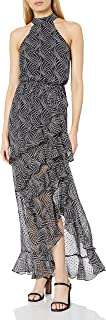 فستان شيفون ماكسي بطبعة نجمية برقبة برباط وطرف مكشكش من بيبي