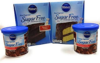 Pillsbury Sugar Free Cake Mix and Frosting Bundle. Moist Devil's Food and Classic Yellow Cake Mix with Ready-To-Use Chocolate Fudge Icing