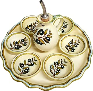 CERAMICHE D'ARTE PARRINI - Italian Ceramic Serving Set Complete Tray Appetizer Cruet Oil Decorated Olives Hand Painted Made in ITALY Tuscan Art Pottery