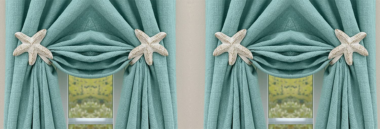 Park Designs Metal Starfish Curtain Mounts with Mounting Hardware. Pack of 4 Holders.