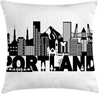 Lunarable Portland Throw Pillow Cushion Cover, Famous Landmarks in Oregon State Buildings Mount Hood and Hawthorne Bridge, Decorative Rectangle Accent Pillow Case, 36