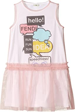 Fendi Kids - Text Message Graphic Dress w/ Tulle Overlay (Little Kids)