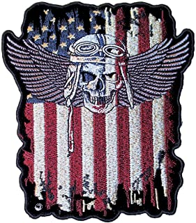 Leather Supreme Patriotic American Flag Fighter Pilot Skull with Wings Biker Patch-Red-Large