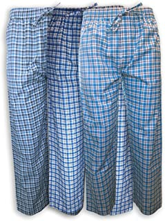 AMERICAN HEAVEN Men's 3 Pack Lounge Pajama Sleep Pants/Drawstring & Pockets Designer Woven Pant Bottoms