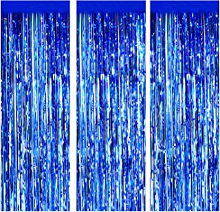 Foil Fringe Curtains Metallic Tinsel mylar curtain for Party Photo Backdrop Wedding Decor (3-Pack, Blue)