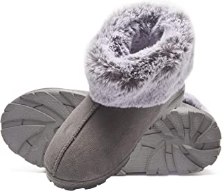 Jessica Simpson Tipped Faux Fur Microsuede Super Soft Bootie Slippers with Indoor Outdoor Sole