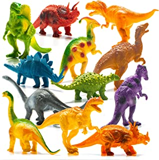 """Prextex Realistic Looking 7"""" Dinosaurs Pack of 12 Large Plastic Assorted Dinosaur Figures with Dinosaur Book"""