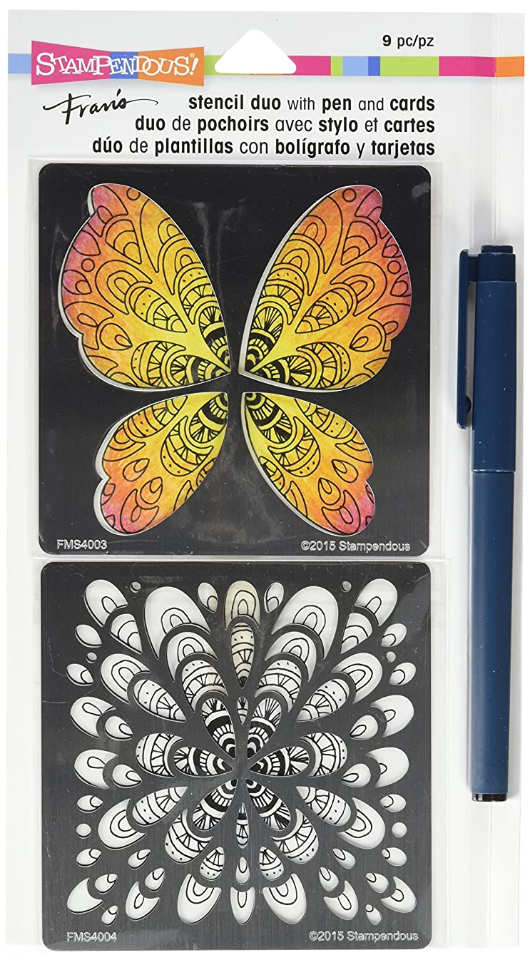 Stampendous FMSD102 Butterfly Fran's Stencil Duo with Pen & Cards, Clear