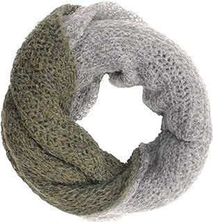 Scaldacollo in maglia, sciarpa ad anello intrecciato a due colori fatto in Italia Made in Italy