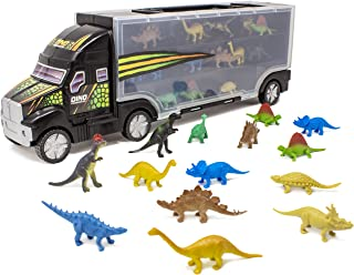"""Boley 14 Piece 16"""" Dinosaur Transport Truck Carrier - Miniature Dino Figures with Semi Truck Trailer Toy - Loadable Miniature Dinosaurs with Portable Truck and Collapsible, Easy-to-Hold Handle"""