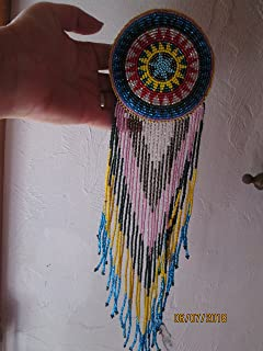 Hand beaded red yellow blue pink silver gold disc medallion Guatemalan Fair trade star design hair clip barrette glass seed beads regalia pow wow. Guatemala .Native American design style