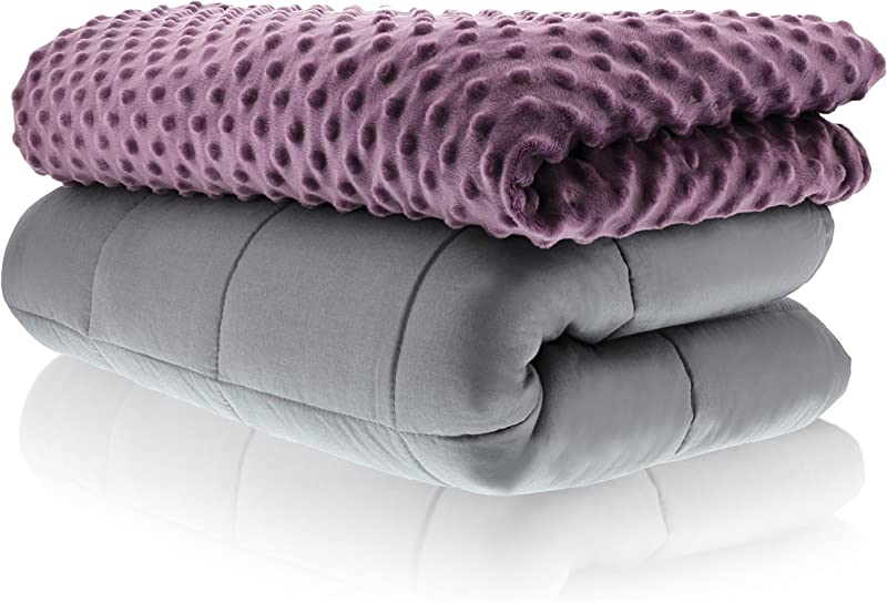 Sonno Zona Weighted Blanket Adult Size Blanket With Cover Included Plum 48x72 Inches 10 Pound Blankets Made From Relaxation Sleep Fabric For Natural Calm