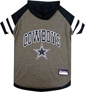 NFL HOODIE TEE for DOGS & CATS.   Football Dog Hoody Tee Shirt available in all 32 NFL Teams!   Cuttest Sports Hooded Pet Shirt! Available in LARGE, MEDIUM, SMALL & X-SMALL with your favorite Team Name!