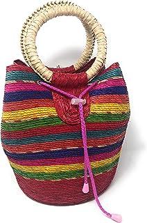 Bolsa de palma a rayas de colores con asas
