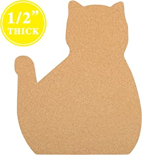 "12"" x 15 "" Cat Shape Large Cork Board Tiles, 1/2"" Thick Cork Board, Gift for Cat Lover, Office Cat Gift, Unique Style Bulletin Board, Ultra Strong Self Adhesive Backing, Bulletin Pin Safe"