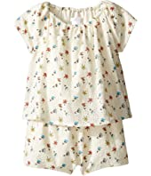 Chloe Kids - Flowers Embroidery Short Overalls From Adult Collection (Infant)