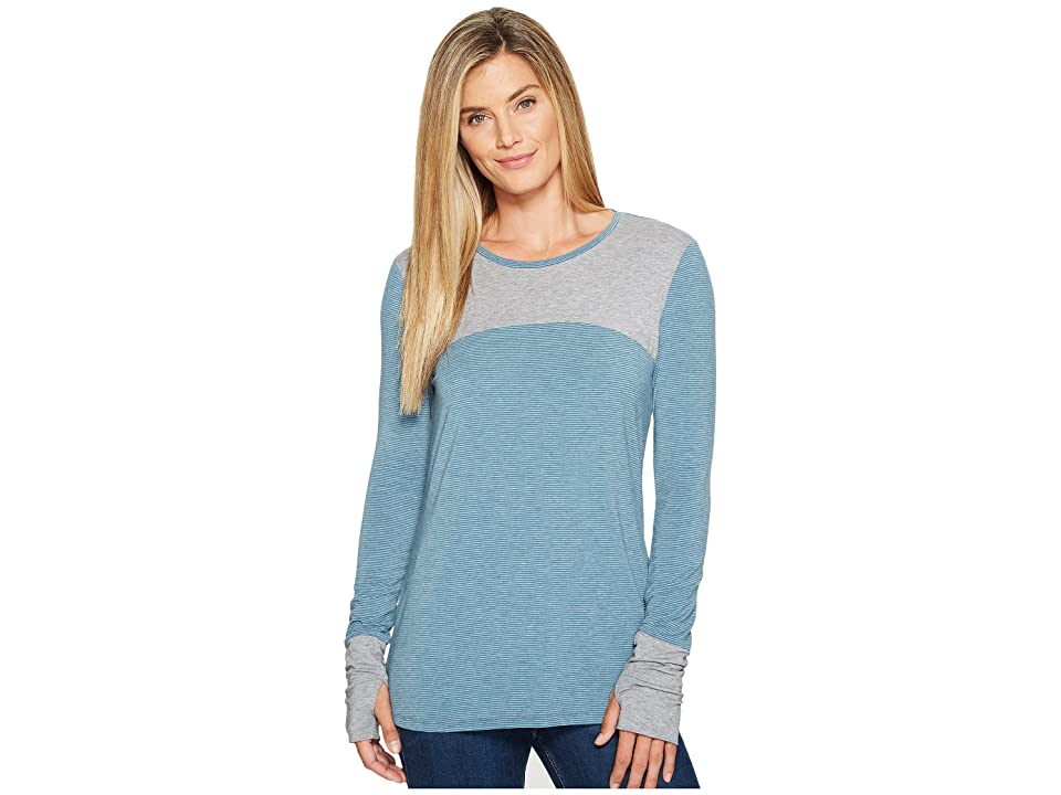 Toad&Co Swifty Long Sleeve Crew (Deep Teal Stripe) Women
