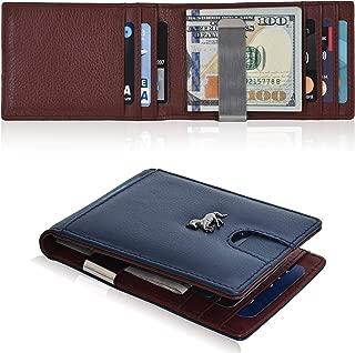 Slim Money Clip Wallets For Men - Real Leather RFID Blocking Bifold Wallet