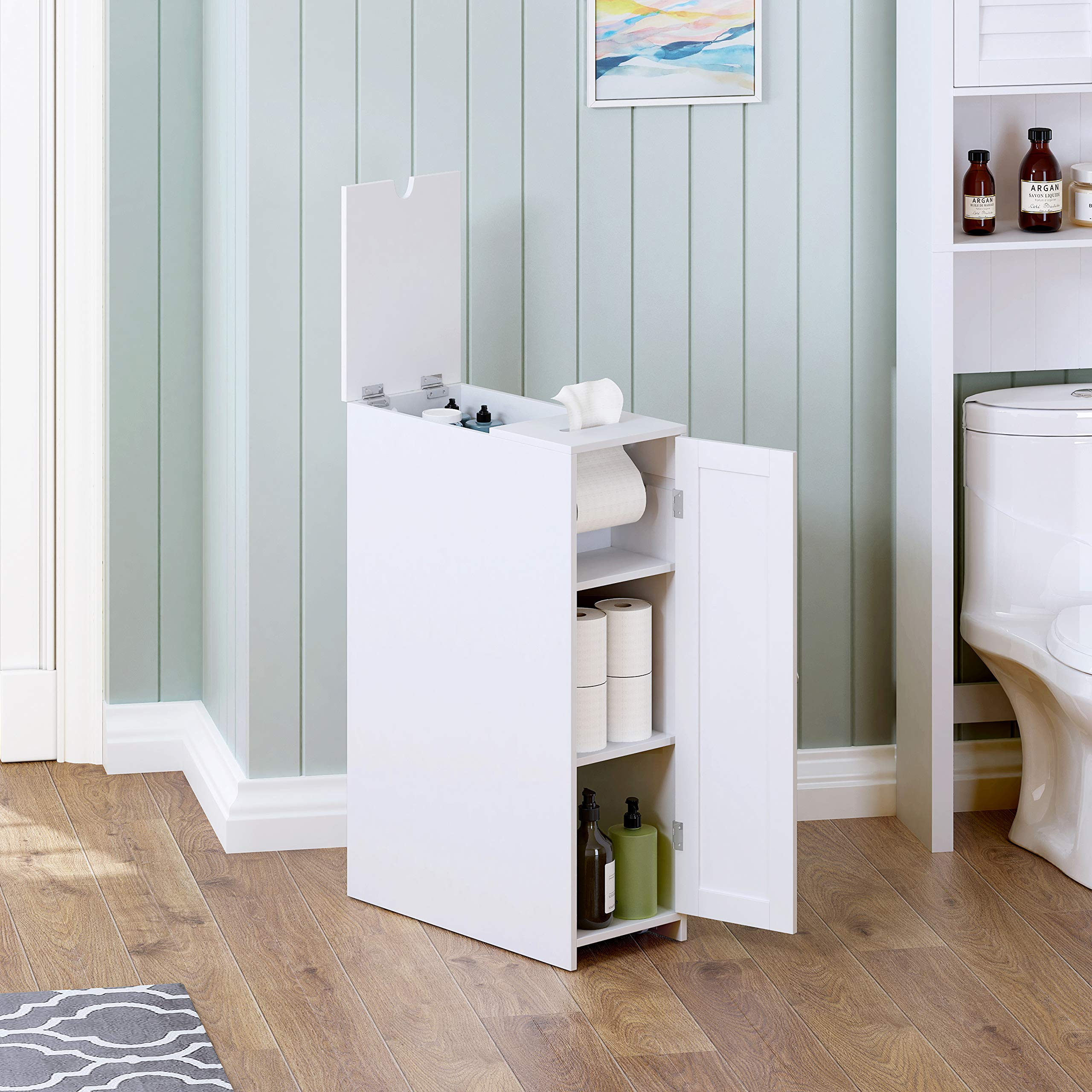 Utex Slim Bathroom Toilet Paper Storage Cabinet With Rolling Toilet Paper Holder Free Standing Toilet Paper Holder Bathroom Cabinet 9 W X 30 H X 20 D White Home Kitchen