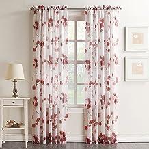 "رقم 918 Kiki Floral Print Crushed Sheer Voile Rod Pocket Curtain Panel ، 51"" x 96"", Coral"