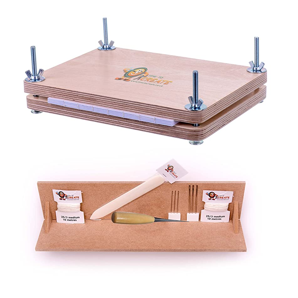 Bookbinding Super Deluxe Starter Kit with Book Press and Punching Cradle - Essential Tools for Book Binding - Bone Folder, Awl, Needles, Waxed Linen Thread, Bookbinding Press and Punching Cradle