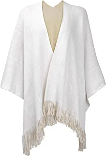 Women's Reversible Winter Knitted Faux Cashmere Fringe Poncho Capes Shawl Blanket Wrap Sweater Cardigan