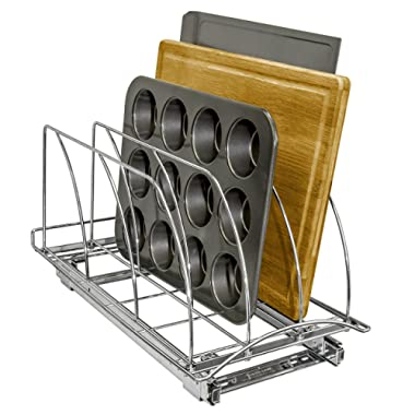 Lynk Professional Slide Out Cutting Board, Bakeware, and Tray Organizer Pull Out Kitchen Cabinet Rack, 10w x 21d x 9.6h -inch, Chrome