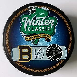 2019 Winter Classic Chicago Blackhawks Boston Bruins Notre Dame Stadium NHL Hockey Puck + FREE Cube