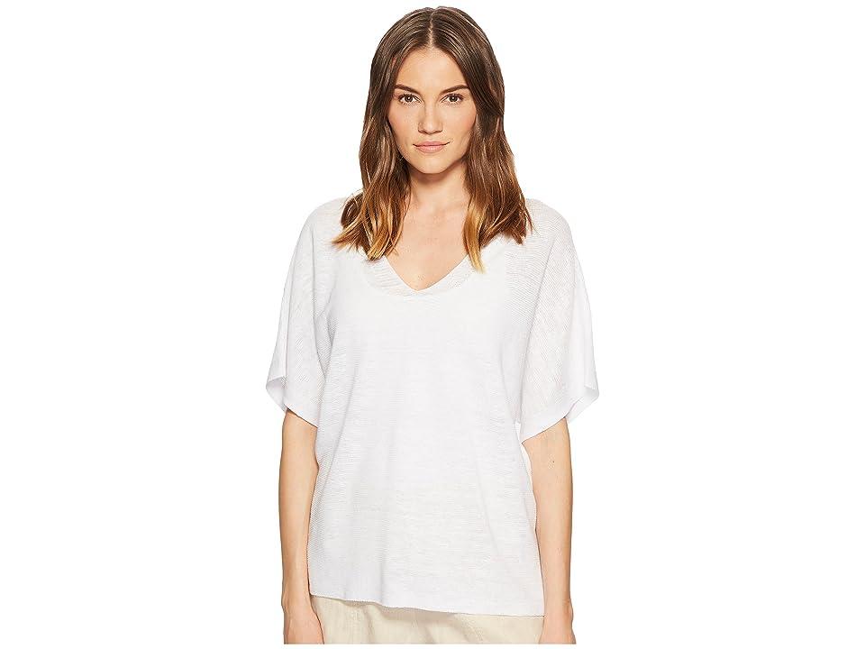 Eileen Fisher Deep V-Neck Top (White) Women