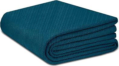 COTTON CRAFT - 100% Super Soft Premium Cotton Herringbone Twill Thermal Blanket - Twin Teal