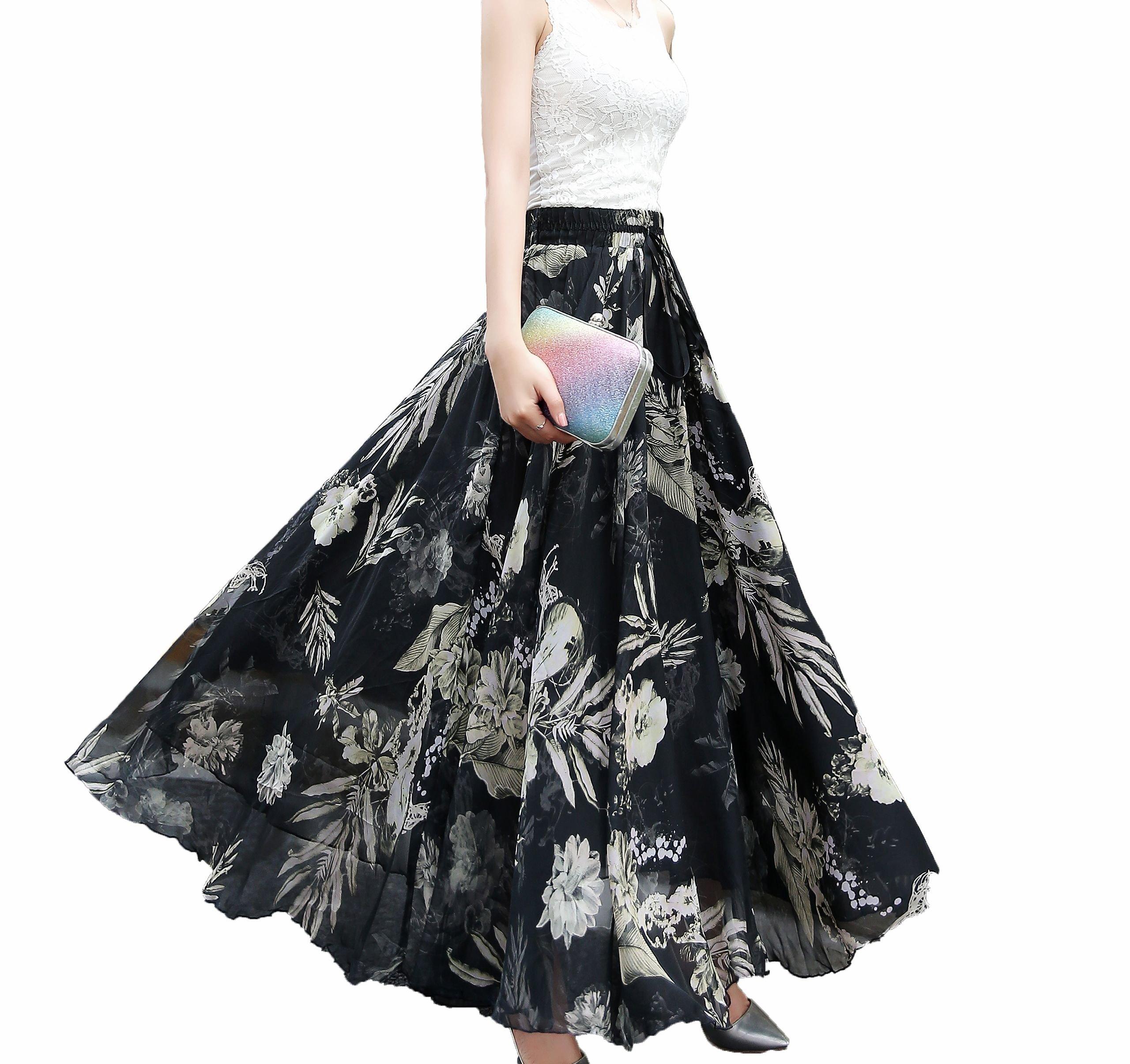 Afibiウィメンズミックスシフォンレトロマキシドレスヴィンテージドレスパターン139ミディアム
