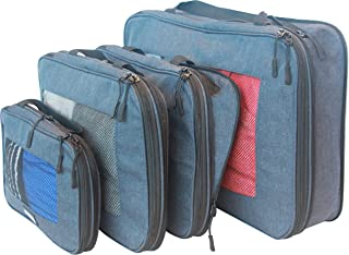 travelbug Compression Packing Cubes Set of 4 (Small, Medium, Medium, and Large) | Compresses to fit More in Less Space | Luggage Organizer for Travel (Dark Blue)