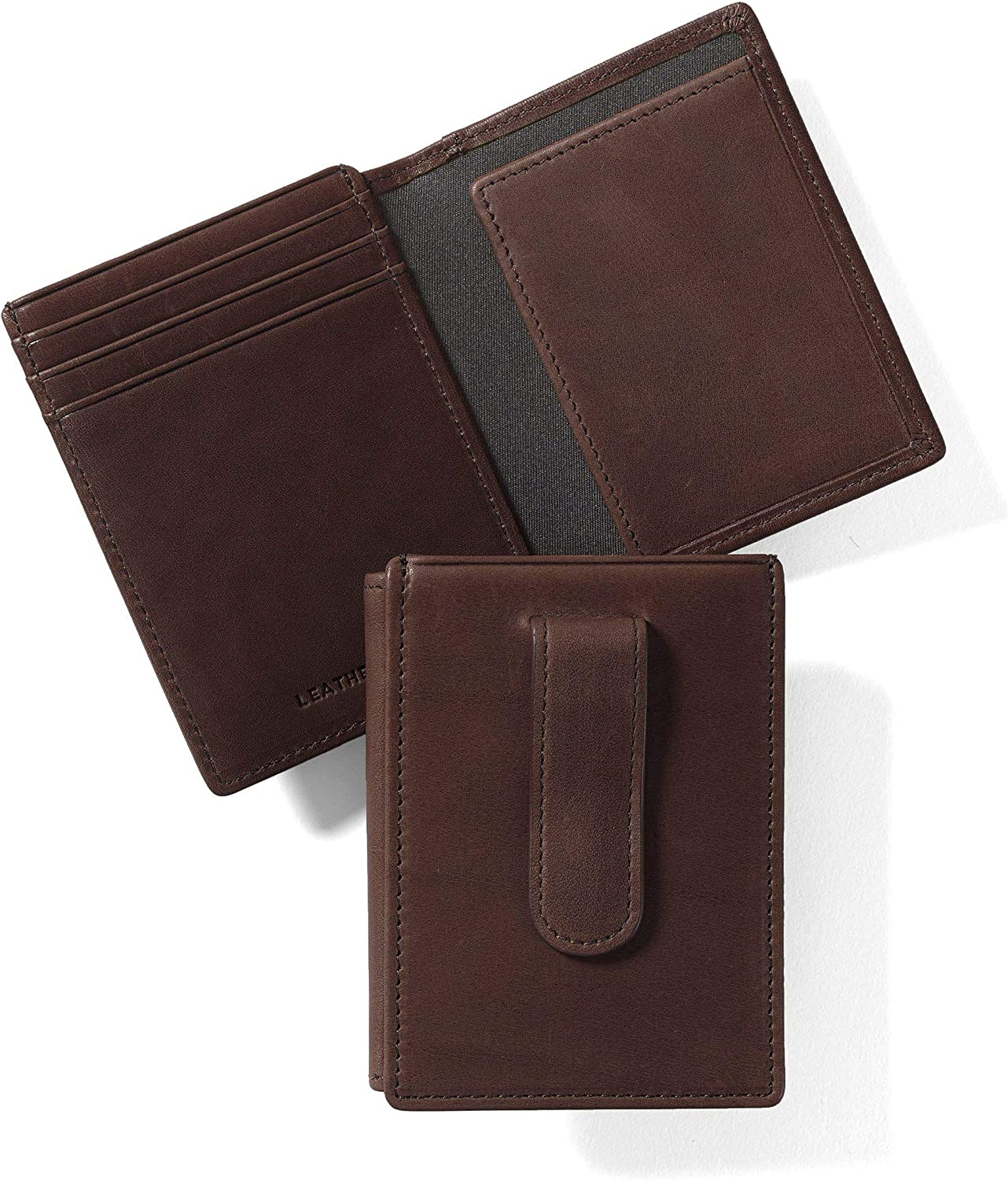 Leatherology Mahogany Men's Money Clip Card Holder Wallet with ID Window