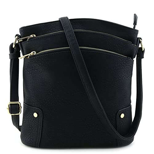 3a9bdde7de52 Triple Zip Pocket Large Crossbody Bag