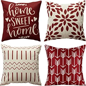 Pack of 4 Home Decorative Throw Pillow Covers Modern Cotton Linen Throw Pillow Covers Cushion Case for Couch Sofa Living Room Home Décor (Wine Red, 18x18)