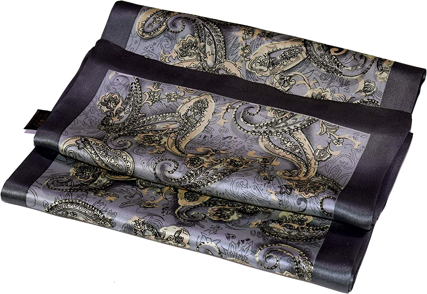 Grey Beige Paisley Printed Double Layer Long Silk Scarf