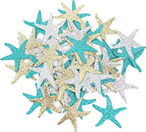 Mybbshower Glitter Paper Starfish Confetti for Birthday Party Table Scatter Beach Theme Party Wedding Decorations DIY Crafts Pack of 150 (teal gold silver)