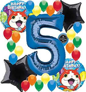 Combined Brands Yokai Watch Birthday Party Supplies Number Balloon Decoration Bundle for (5th Birthday)