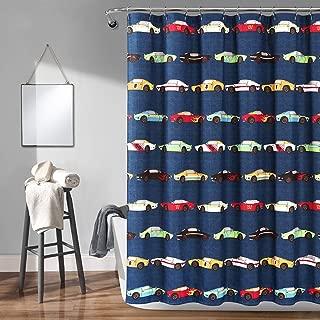 "Lush Decor Cars Shower Curtain-Fabric Racing Print Design for Kids, x 72"", Navy"
