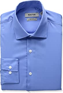 Kenneth Cole Reaction Men's Textured Regular Fit Solid Spread Collar Dress Shirt