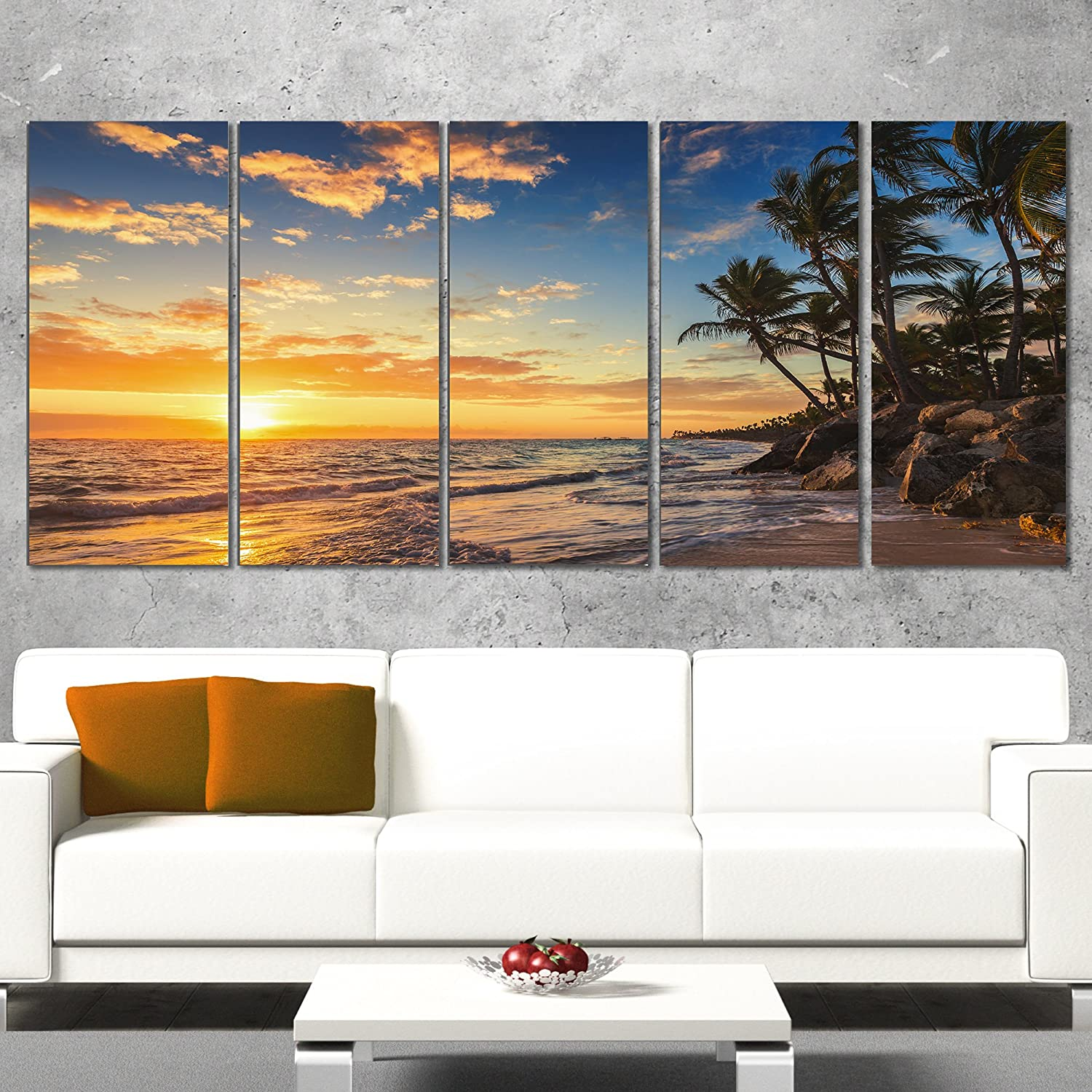 Designart Paradise Tropical Island Beach with Palms-Extra Large Seascape Art Canvas-60x28 5 Piece-PT10830-401, 60x28-5 Equal Panels