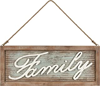Kate and Laurel Flanders Extra Large Vintage Family Wall Art Hanging Sign, Metal with Rustic Brown Wooden Frame and Distressed Ivory Scripted Letters, 33.5 x 14 inches