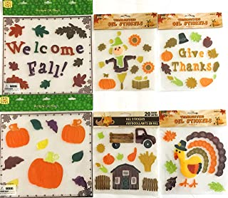 Fall Gel Clings: Harvest Pumpkin Apples Picnic Basket Sunflowers Colorful Leaves Decorations for Home Office Windows Mirrors and More