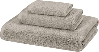 AmazonBasics Quick-Dry, Luxurious, Soft, 100% Cotton Towels, Platinum - 3-Piece Set